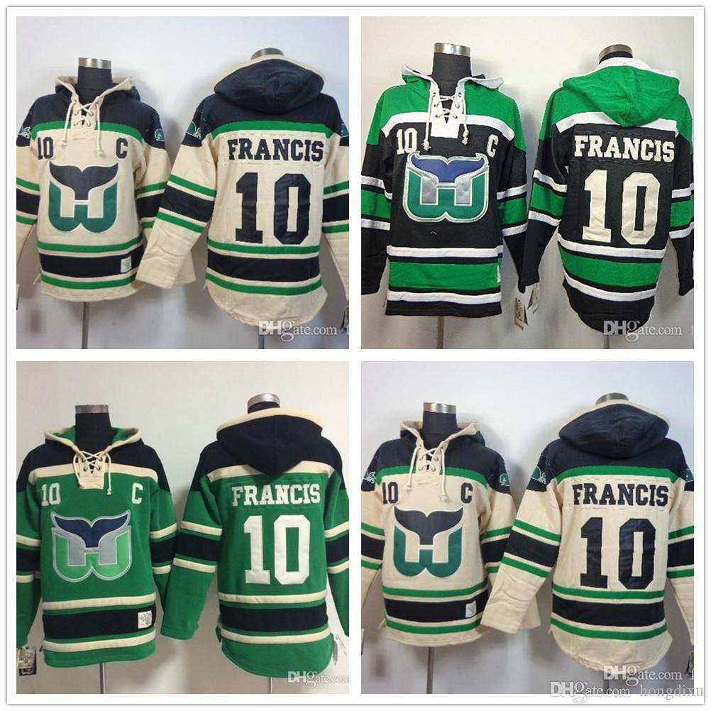 034468599 Cheap Hartford Whalers Hooded Jersey  10 Ron Francis Hockey Jersey ...