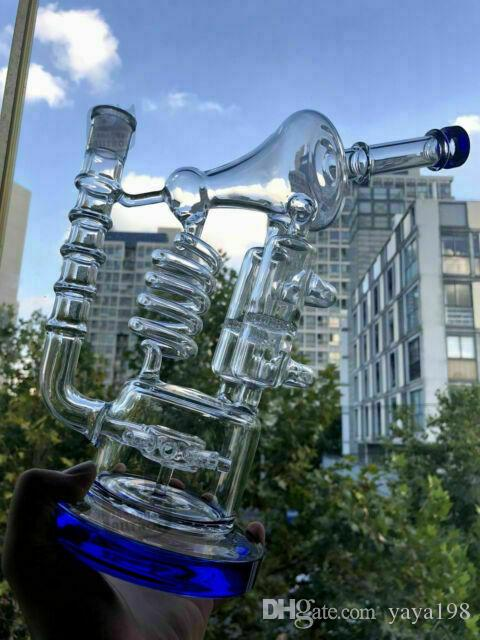 14 inches Jumbo Bong Recycler Glass Pipe Mobius Matrix Bubbler klein Beaker Bongs
