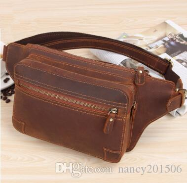 9d7a57ad Designer 100% Full Grain Leather Waist Pack Bags Mens Pillow Fanny Pack  Retro Bum Hip Belt Pouch Chest Pack Small Messenger