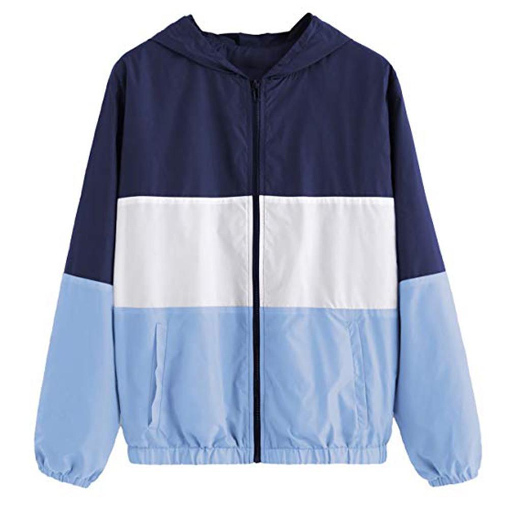 1696da5ad Women Casual Jackets Clothing Patchwork Lightweight Hooded Windbreaker  Outdoor Hiking Coat Womens Hiking Female Zipper Elegant