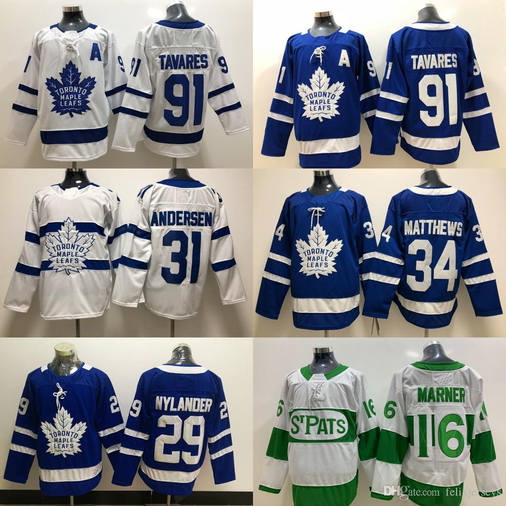 91 John Tavares Jersey Toronto Maple Leafs 29 William Nylander 16 Mitch Marner 34 Auston Matthews 31 Frederik Andersen Camisetas de hockey