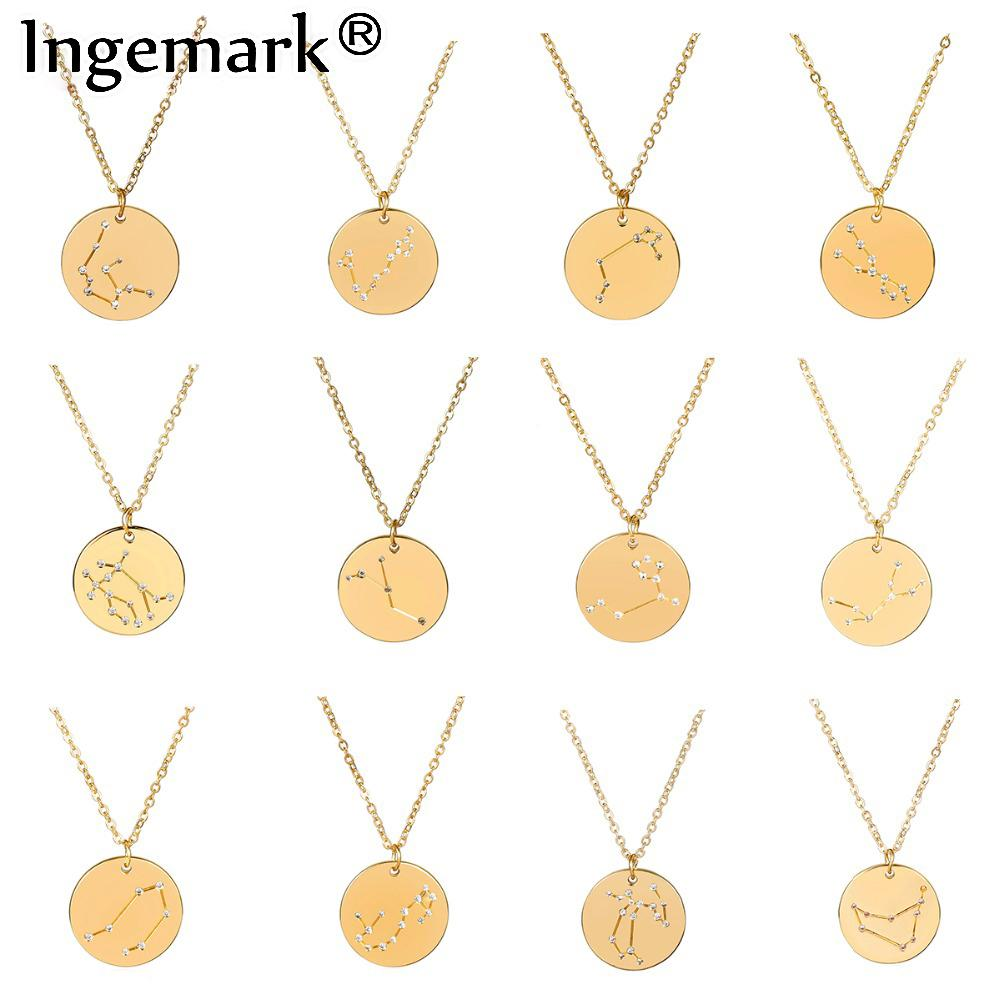 Wholesale Ingemark 12 Zodiac Constellations Pendant Choker Necklace