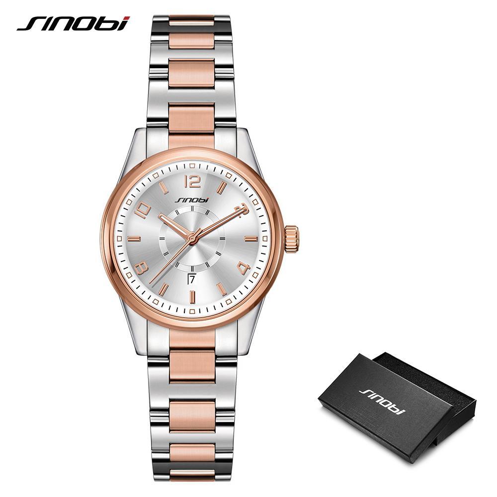 c4da492df 2019 Sinobi Golden Women's Geneva Watches Fashion Bracelet Wristwatch Date Famous  Brands Ladies Quartz Watch Clocks Montre Femme J 190505