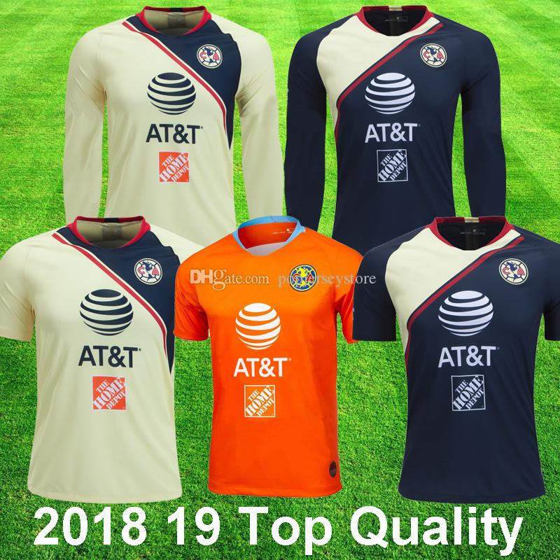 dbc842257b4 2018 19 Camisetas De Fútbol De Manga Larga Del Club America 3rd Orange P  AGUILAR O PERALTA # 24 WILLIAM DOMINGUEZ Camiseta De Fútbol De Calidad  Superior De ...