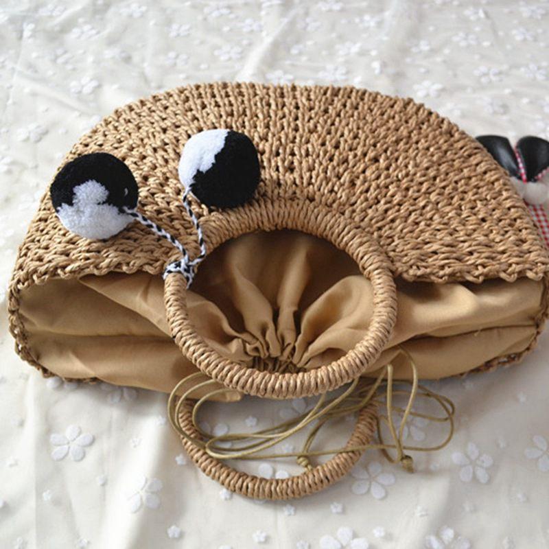 Frauen-Pompon-Strand, der Damen-Stroh-Beutel wickelt, wickelte Strand-Beutel-geformte Tasche 2019 neue Sommer andmade Beutel M123 ein