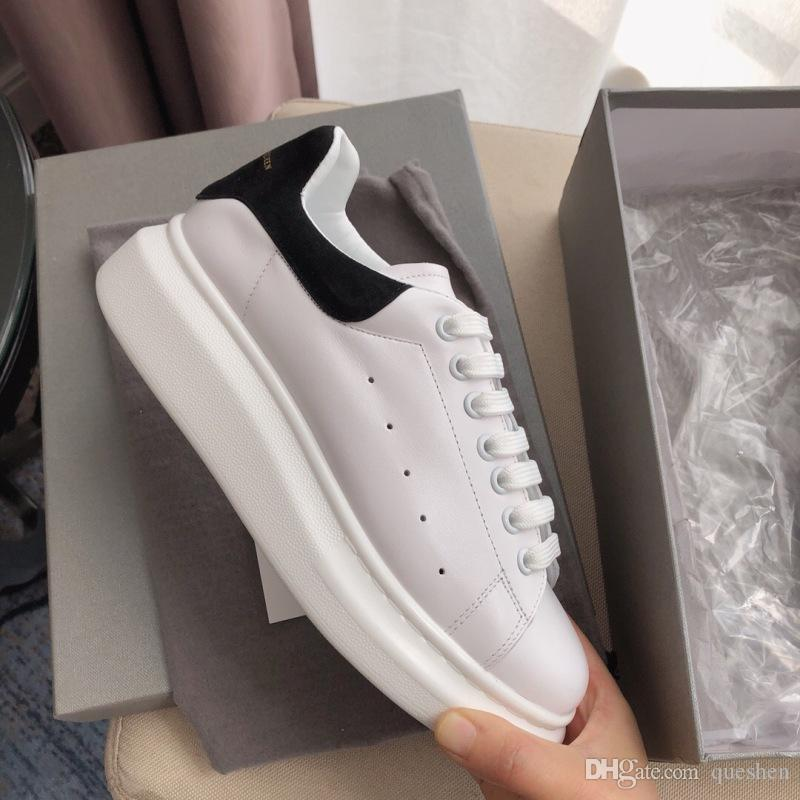 2019 Designer Brand Mens Women Trainers White Black Leather Casual Shoes Girl Women Men Pink Gold Comfortable Flat alexander mcqueens Sneakers