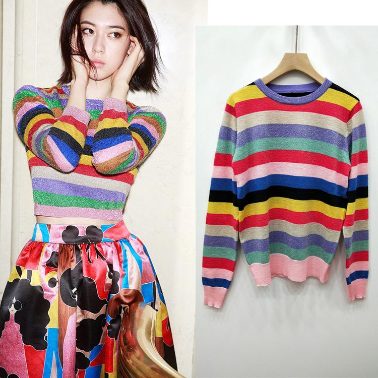 c833c1d7d47 2019 Spring Thin Section Ageing Color Striped Sweater Sleeves Stretch Large  Sweater Sweater Online with  63.3 Piece on Hot1022 s Store