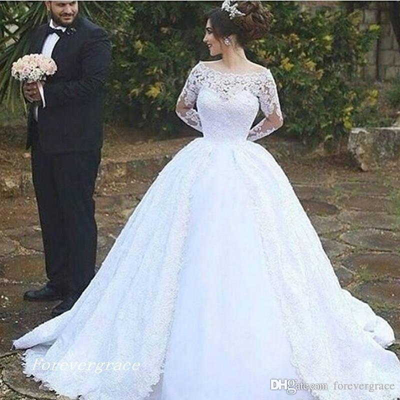 2019 Vintage Long Sleeves Lace Ball Gown Wedding Dress Middle East Arabic Dubai Style Bridal Gown Plus Size Custom Made