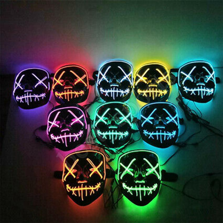 20 styles Masque LED Halloween Party cosplay Glowing Masques club éclairage DJ Masque Bar Joker Guards visage LED jouets ZZA1188 120PCS