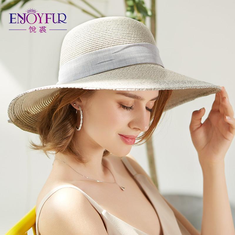 9642c6ec7 ENJOYFUR 2019 Summer Cotton Hat For Women Beach Caps Elegant Straw Hats For  Vacation High Quality Floppy Sun Hats With Bowknot