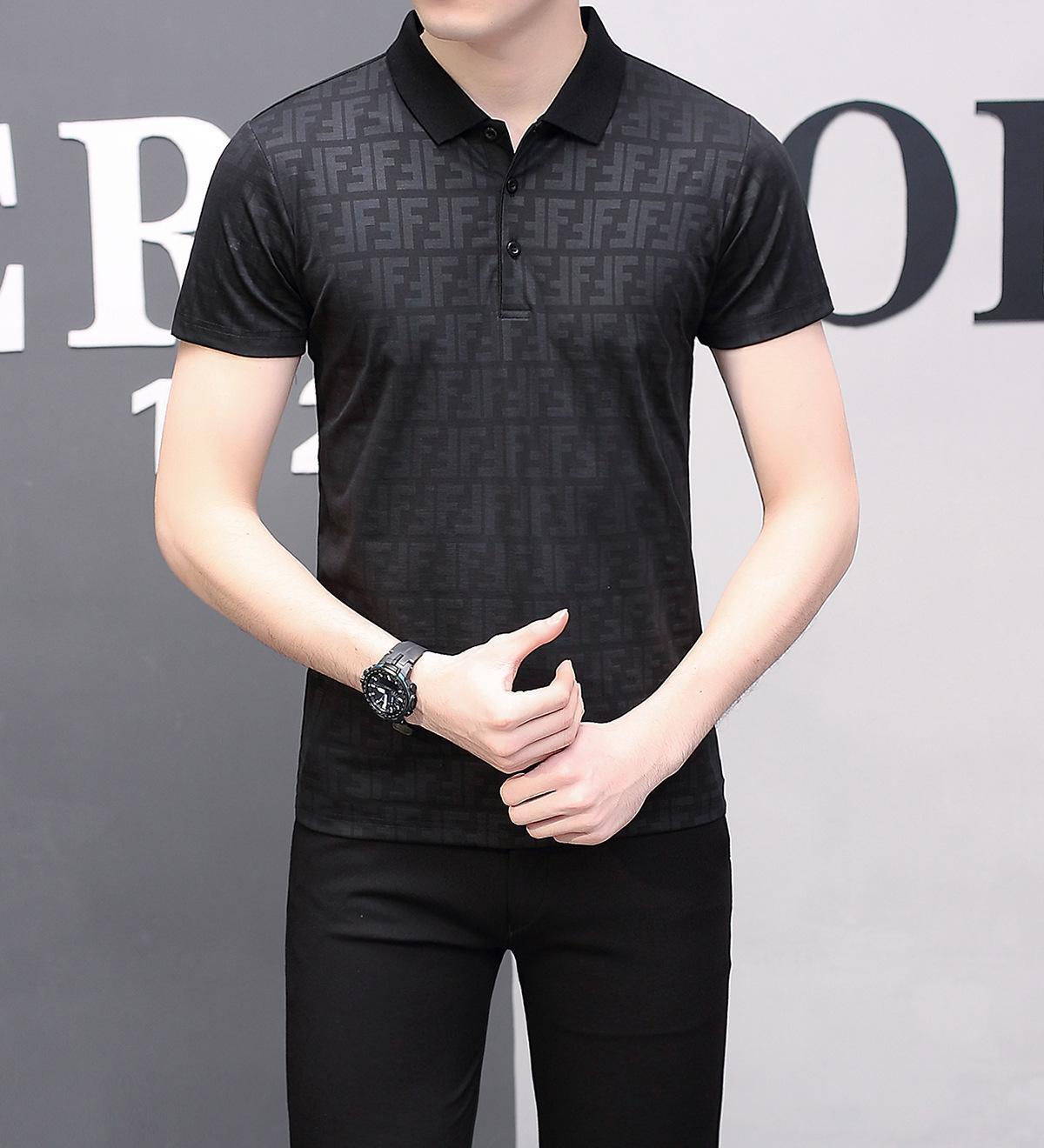 70d55eee7 Camiseta de manga corta Camiseta de hombre joven y de mediana edad con  solapa Medio de solapa de algodón Camiseta de solapa
