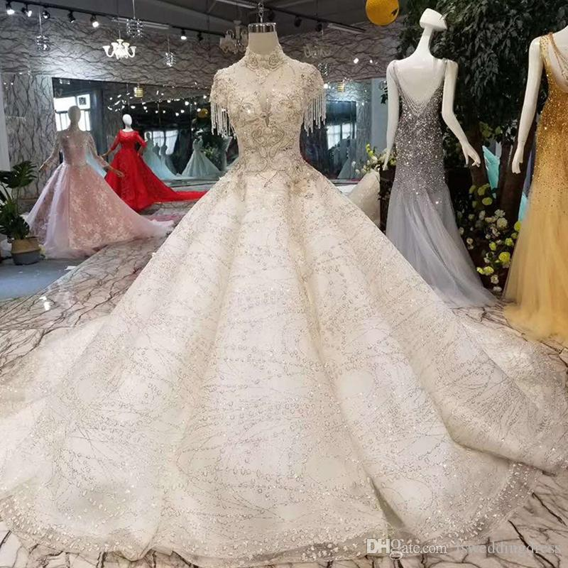60654411d5362 Luxury Wedding Dress Open Back High Neck Beaded Cap Sleeve Ball Gown hot  wedding Gown With Long Train Free Shipping 2019 Newest Design