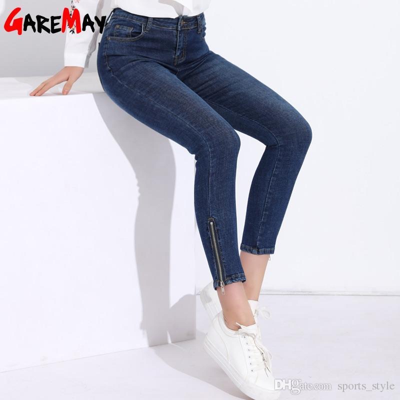 Para Clásico Tobillo Pantalón Alta Pantalones Vintage Jeans Mujer Cremallera Largo Del Garemay Lápiz Feminina Delgado Cintura Skinny b6gy7f