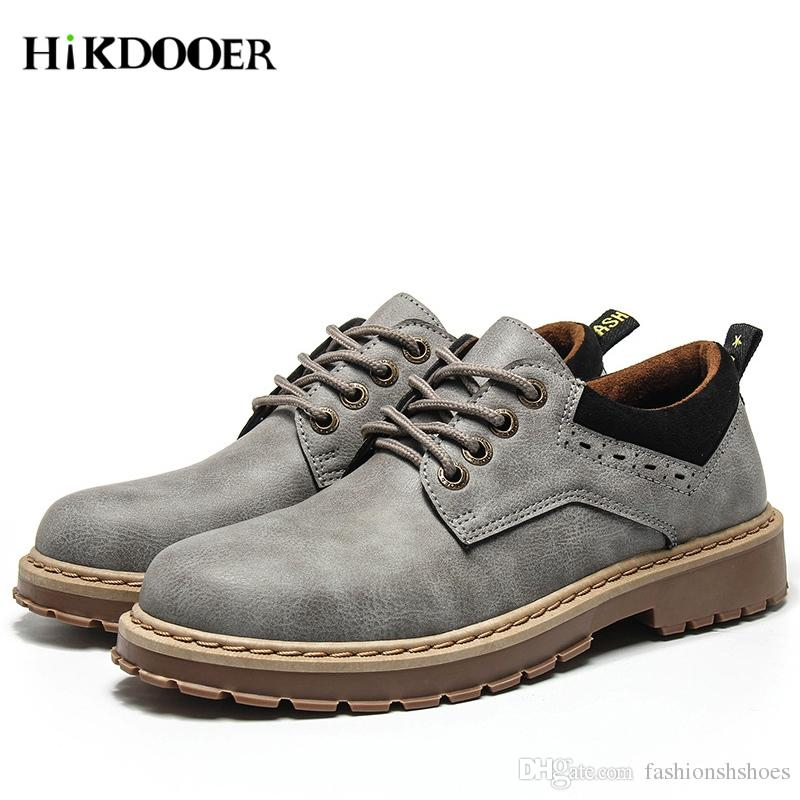 7b0783264a Compre Hombres Zapatos De Cuero Genuino Zapatos De Marca De Cuero Para  Hombre Zapatos Martin Botas De Seguridad En El Trabajo Diseñador Hombres  Pisos ...