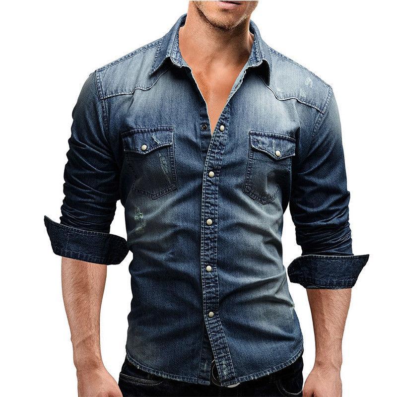 the latest bcee8 78258 Camicia uomo marca 2019 Camicie maniche lunghe maschili casual tinta unita  denim Slim Fit Camicie uomo 3XL 3011