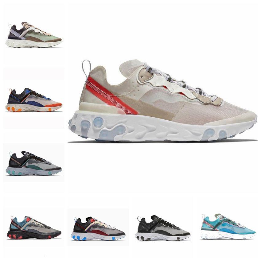 b1e3507756c8 NIKE React Element 87 Undercover Men Running Shoes Sail Light Bone Blue  Chill Solar Antracita Negro Mujer Diseñador Zapatillas de deporte Size36-45