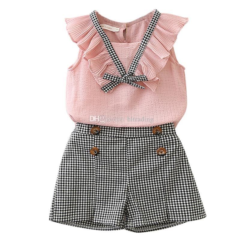20474d1eb Satın Al Çocuklar Giysi Tasarımcısı Kızlar Şifon Kıyafetler Çocuk Üst +  Izgara Şort 2 Adet / Takım 2019 Yaz Butik Bebek Ekose Giyim Cleri, $7.04 |  DHgate.