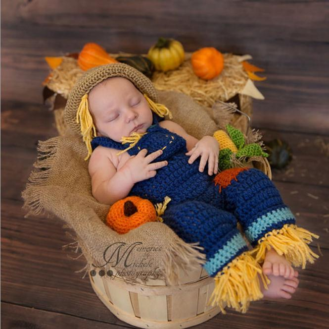 f375ed993 Crochet Newborn Photo Props Infant Baby Scarecrow Costume Knitted Baby Hat  Pants Set For Photo Shoot Baby Boys Clothing