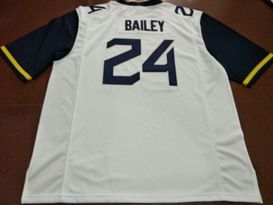 Men WVU Mountaineers Hakeem Bailey #24 real Full embroidery College Jersey Size S-4XL or custom any name or number jersey