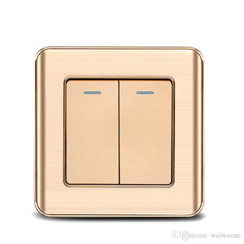 2020 Uk Standard 2 Gang 1 Way    2 Way Wall Switch And Gold Color 10a Lampe Switch From Weiwoone