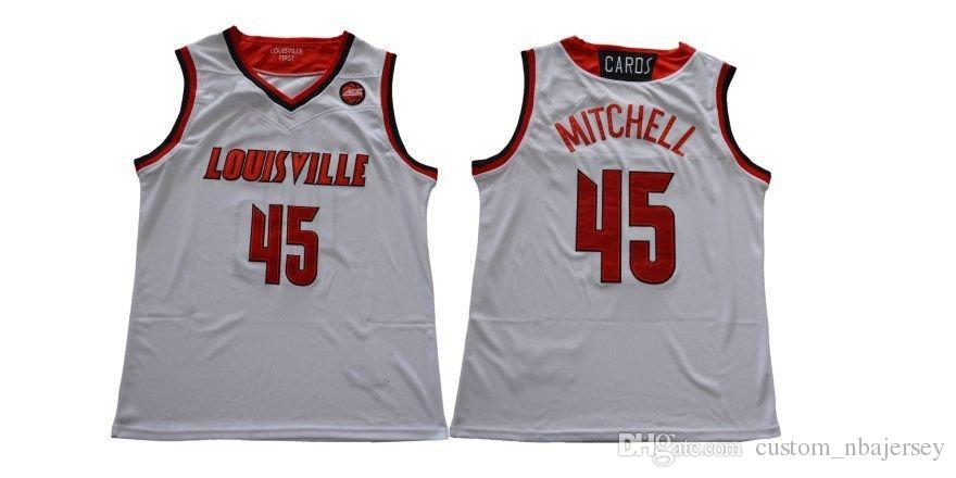 f5bdb8b172d 2019 Custom Louisville Cardinals  45 Donovan Mitchell White College  Basketball Jersey Stitched Customize Any Number Name MEN WOMEN YOUTH XS 5XL  From ...