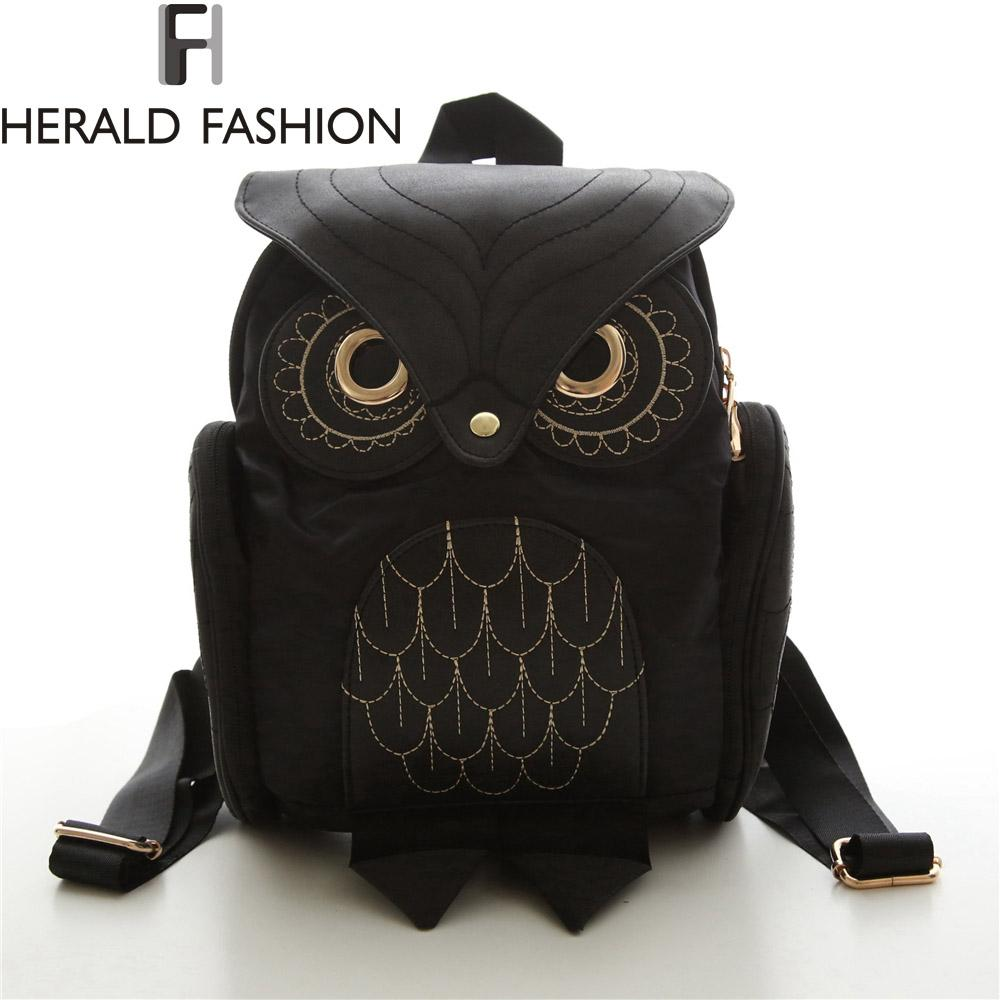 uggage Bags Backpacks Women Backpack 2017 New Stylish Cool Black PU Leather Owl Backpack Female Shoulder Bag School Bags Herald Fashion m...