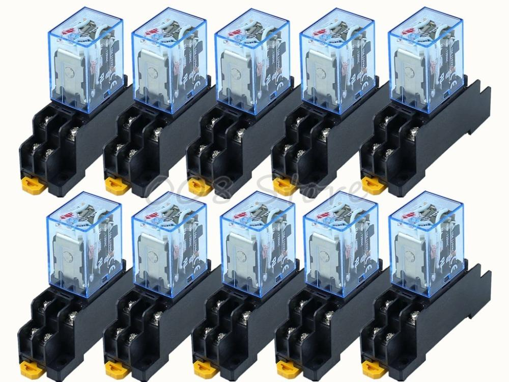 Free Shipping 10Pcs 12V 24V DC 110V 220V AC Coil Power Relay LY2NJ DPDT 8  Pin HH62P JQX-13F With Socket Base