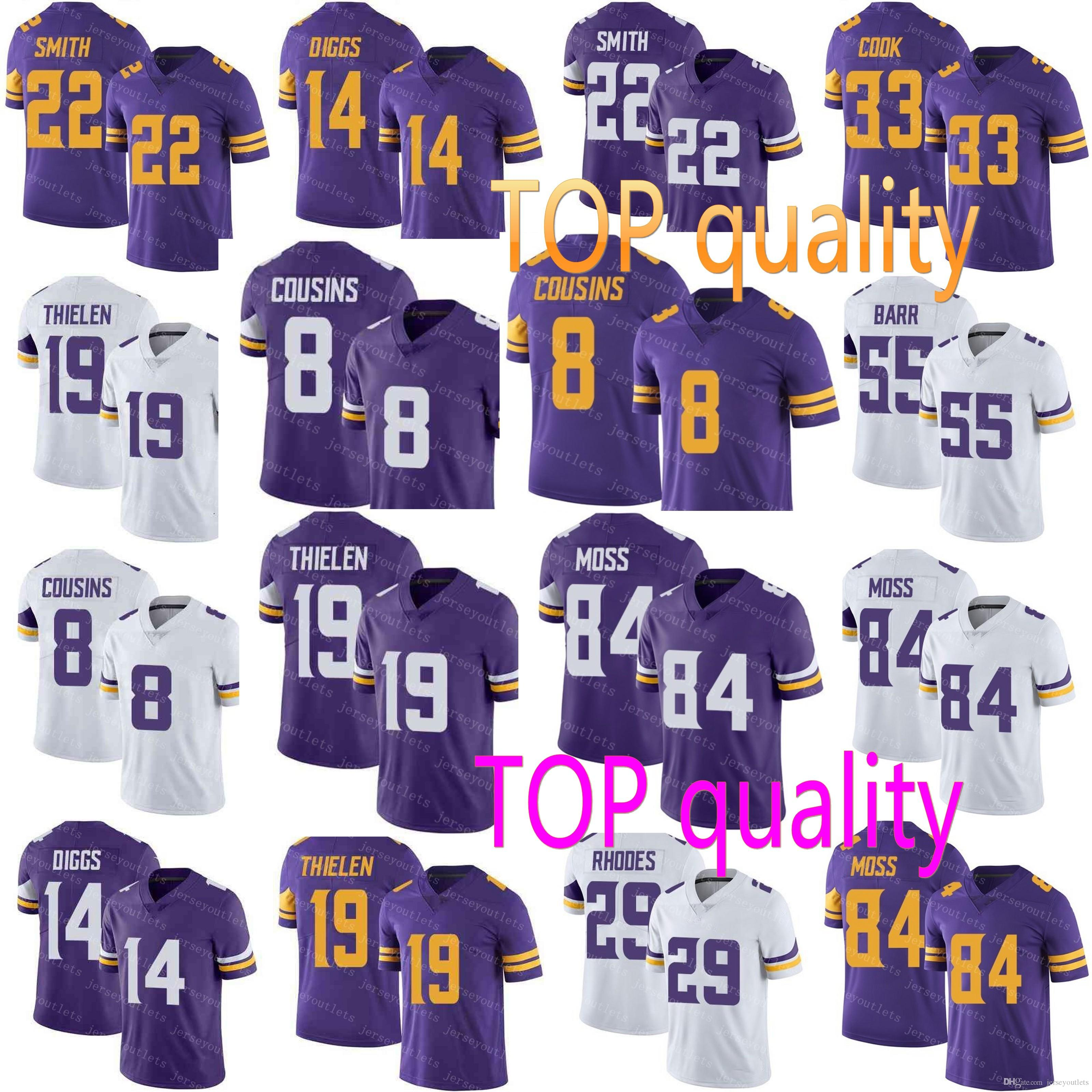 81800b719 2019 2018 Minnesota 8 Kirk Cousins 19 Adam Thielen 14 Stefon Diggs 84 Randy  Moss 29 Rhodes Vikings Jersey 22 Smith 33 Cook 55 Barr Jerseys From ...