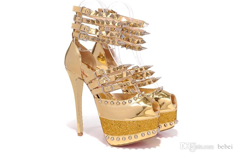 3db386353 Luxury Gold Peep Toes With Spikes Platform Women Designer High Heels Shoes  Sexy Ladies Wedding Shoes Blue Shoes Shoe Boots From Bebei, $76.39|  DHgate.Com