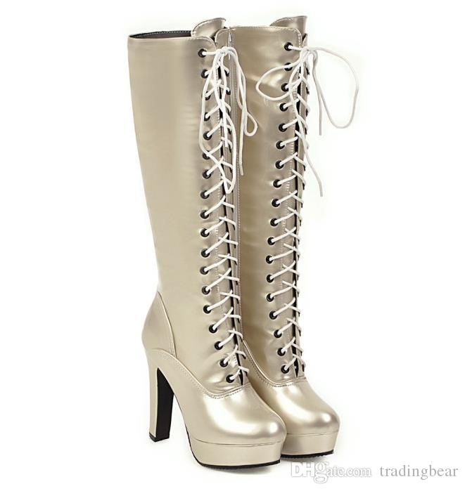 Plus size 34 to 40 41 42 43 44 45 46 47 48 womens knee high boots lace up platform knigth boots winter designer boots gold silver black