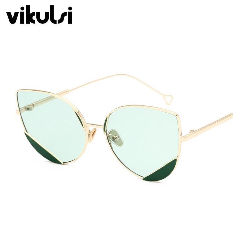 ff8451ae5b2cd ... De Gato Óculos De Sol Para As Mulheres Designer De Marca De Armação De  Metal Rosa Vermelho Eyewear Feminino Triângulo Óculos De Sol Shades Homens  UV400 ...