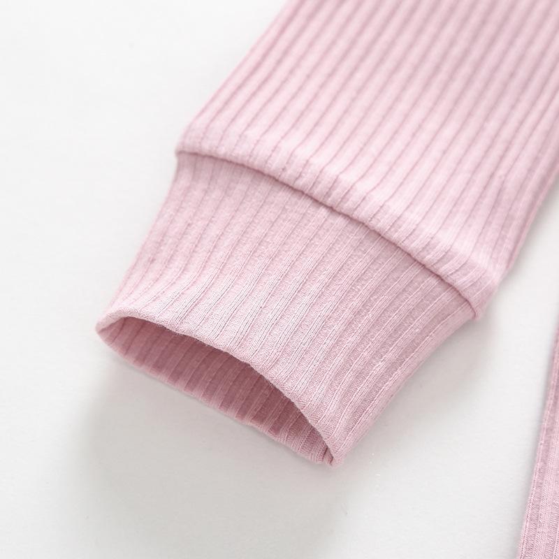 Katı Renk Yenidoğan Romper Pamuk Bebek Giyim Butik Çizgili 5 Renk Uzun Kollu Onesies 19073002