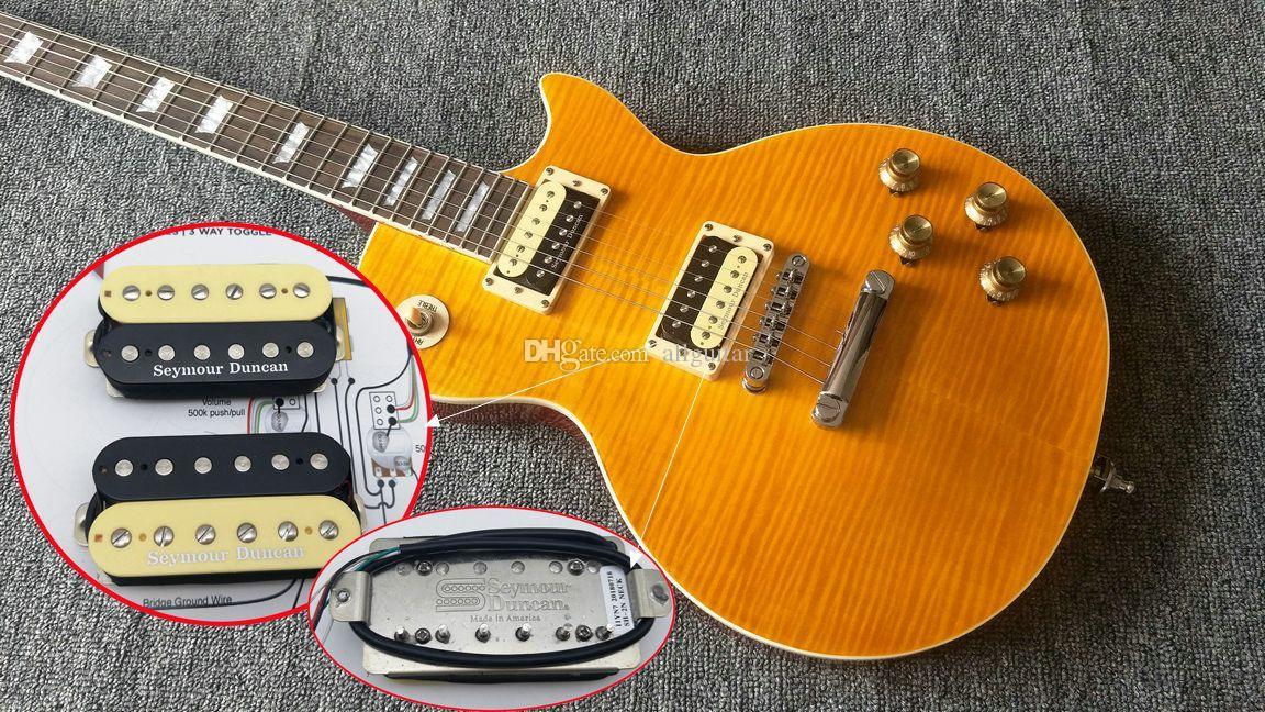 Senior Custom Yellow Slash Guitar Best Seymour Duncan Pickups Slash  Appetite AFD VOS Flamed Top yellow Electric Guitar One piece body neck