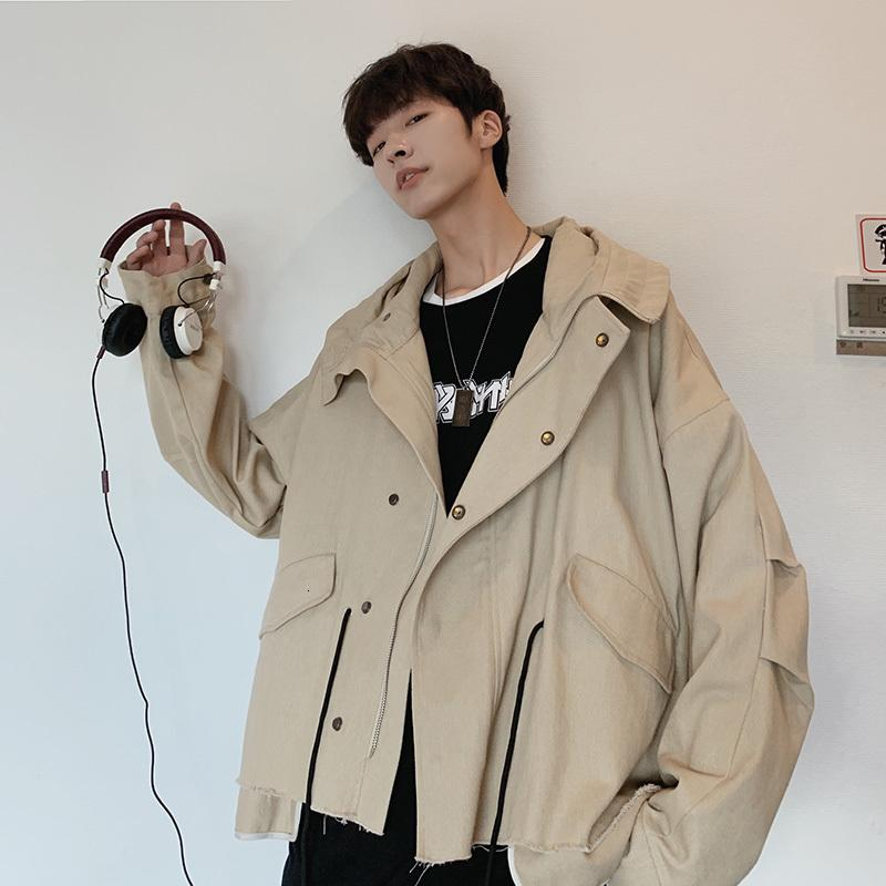 Herbst New Tooling Jacket Men Fashion Solid Color Lässige Kapuzenjacke Mann Street wilder Hip Hop lose Bomber M-2XL