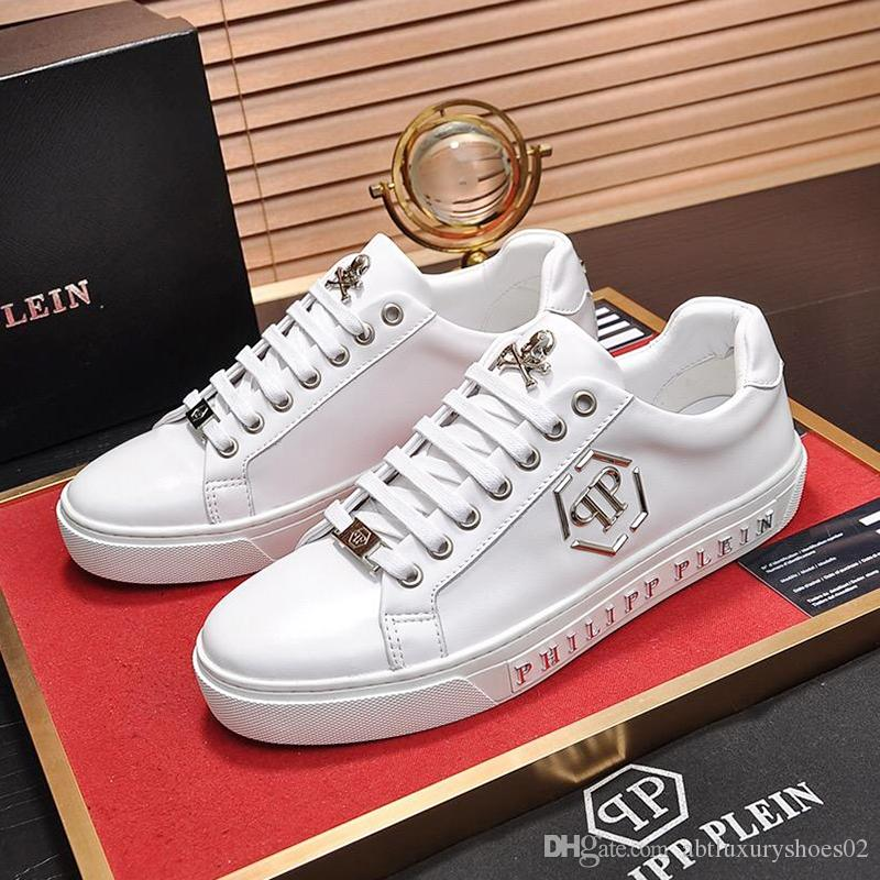 New 2019 Men Sneakers Shoes Fashion Lo Top Sneakers Statement Fashion Summer Casual Men Shoes Leather Big Size Herren Sportschuhe Fast Ship