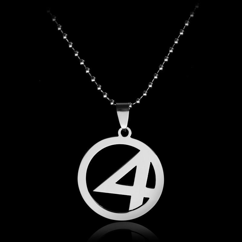 dongsheng Movie Fantastic Four Logo Pendants Metal Bead Chain Necklace Superhero Accessories Jewelry Collar for Men Gift -30