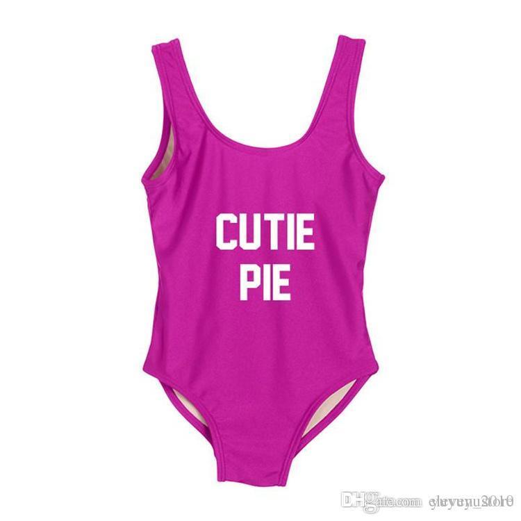 De Pieza Personalizado Bañador Nuevo Mujer Baño Bañándose Monokini Cutie Traje Texto Ywxk Una Imprimir Pie YgmIb6v7fy