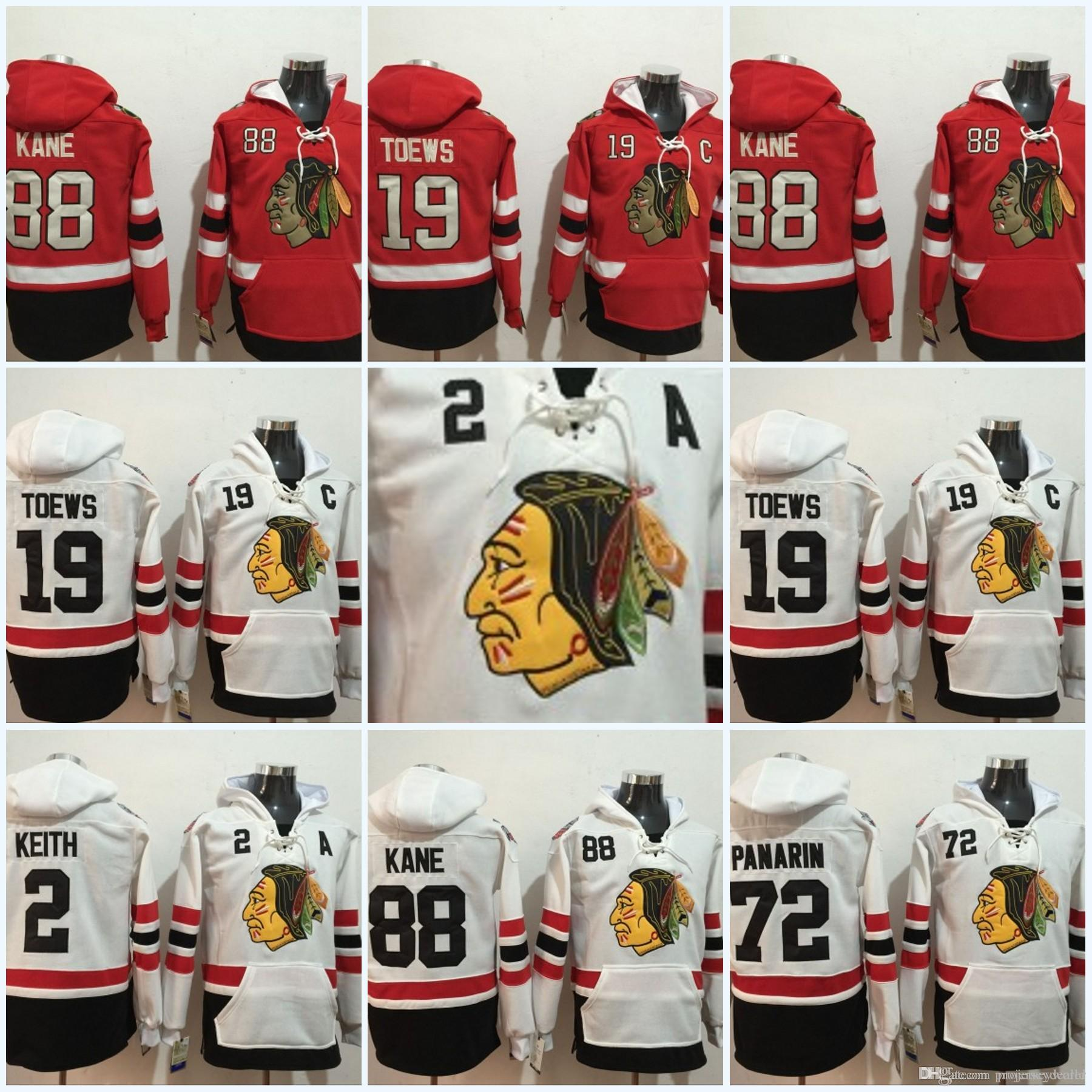 finest selection 23920 9822c Mens Chicago Blackhawks Jerseys 19 Jonathan Toews 88 Patrick Kane 2 Duncan  Keith 72 Artemi Panarin Hoodie Sweater Hockey Jerseys