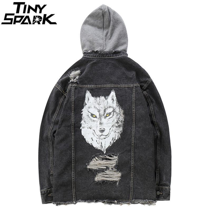 Compre Hombres Apenados Denim Bomber Jackets 3D Wolf Hoodie Chaqueta Jeans  Streetwear Otoño 2018 Agujeros Rasgados Hooded Denim Jacket Hip Hop A   110.58 Del ... e42ca3fd795