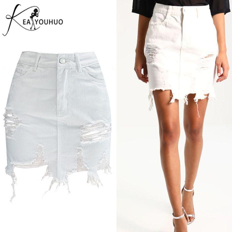 744c0b63ee6120 Compre 2019 Verano Mujer Bodycon Faldas Para Mujer Lápiz Denim Cintura Alta  Ripped Jeans Mujer Borla Negro Falda Pantalones Vaqueros Blancos J190427 A  ...
