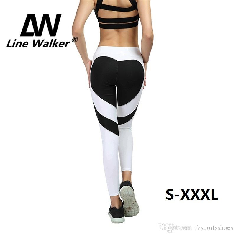 31a9e46c3ccb5 2019 Line Walker Yoga Pants Loving Heart Hip Sport Leggings Sexy Push Up Fitness  Gym Leggins Women Patchwork Workout Running Pants #330166 From ...