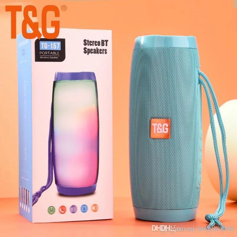TG157 Mini Portable LED Light Lamp Flash Speaker Wireless Bluetooth Mini  Column Subwoofer Sound Box FM Radio Mp3 USB TFMp3 Music Player