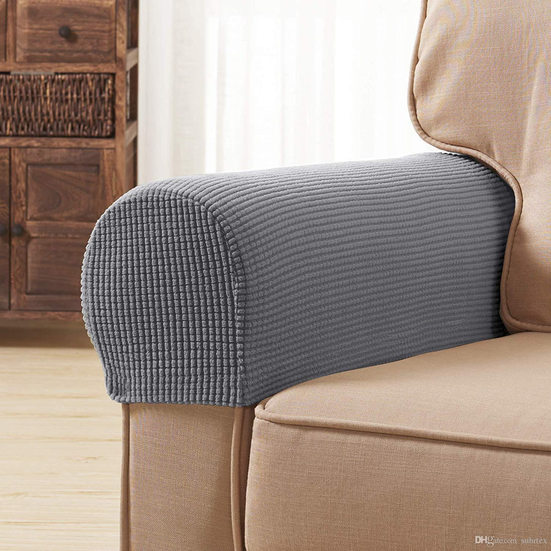 Subrtex Spandex Stretch Fabric Armrest Covers Anti Slip Furniture