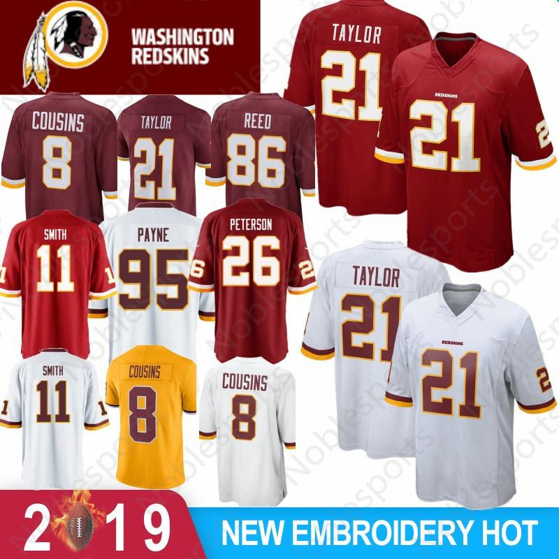 official photos f2055 23631 21 Sean Taylor 11 Alex Smith Washington Redskins Jersey 29 Derrius Guice 86  Reed 8 Kirk Cousins 91 Kerrigan New Football Jerseys Stitched