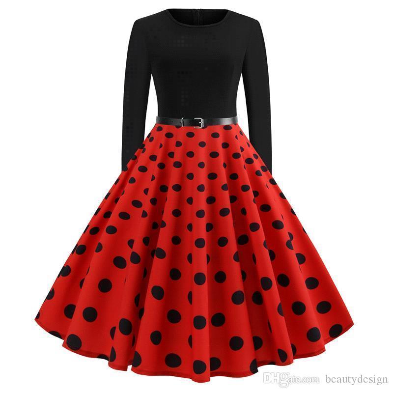 64455e9327 Compre Nuevo Retro Negro Rojo Oscuro Azul Marino Lunares Mujer Vestidos  Casuales Gran Swing Otoño Primavera Manga Larga Vestido Vintage Con  Cinturón Vestido ...