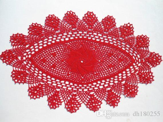 купить оптом красный овальный вязание крючком салфетки вязание