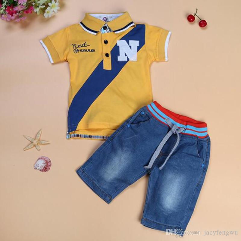 f35e06dde 2019 Quality Baby Boys Clothes Sets Children Polo Shirt Jeans Boys Summer  Shorts Tees Shirt Pants Suit Kids Casual Outfits 80 115cm XZT066 From  Jacyfengwu, ...