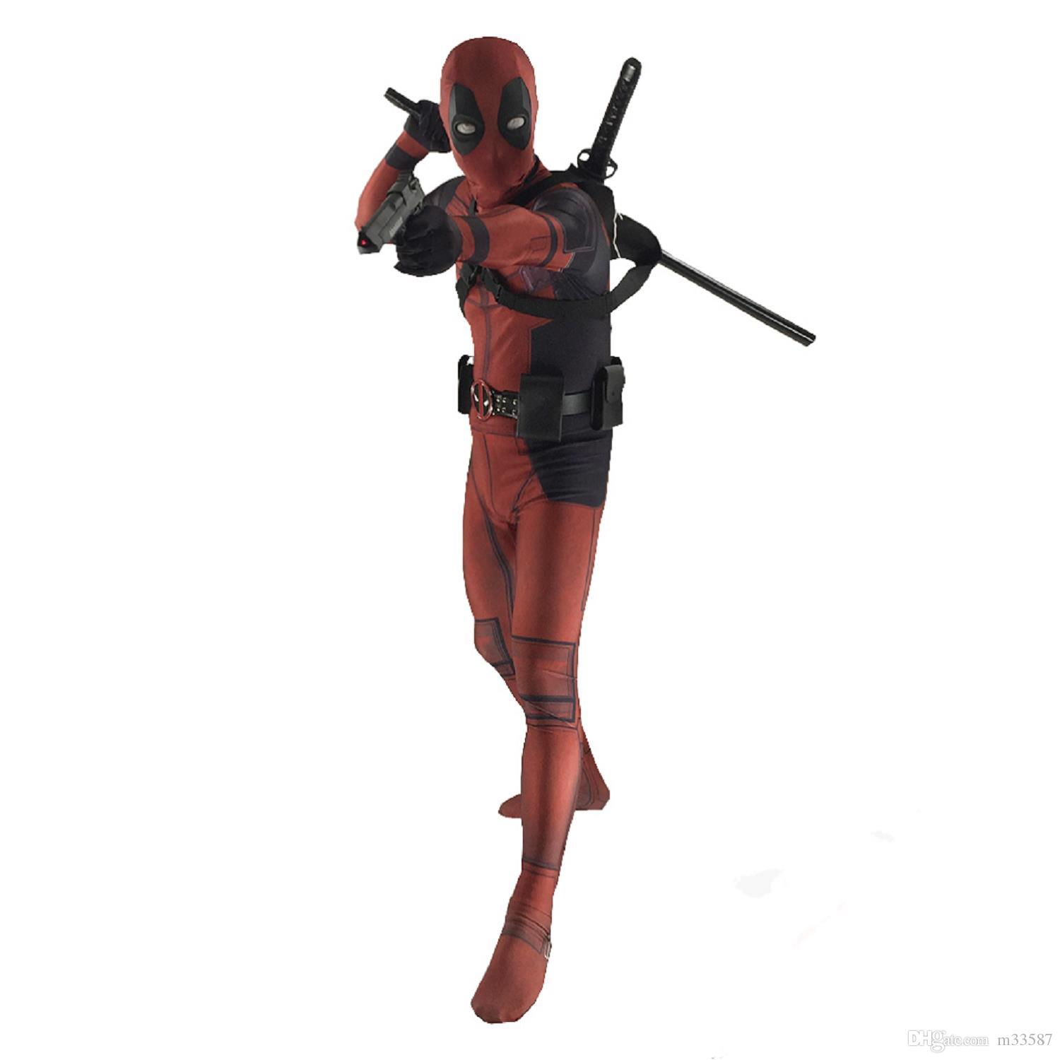 cosplay Red X-Force Deadpool Costume 3D Printed man Male Superhero Costume The Most Classic Zentai Suit Free Shipping halloween