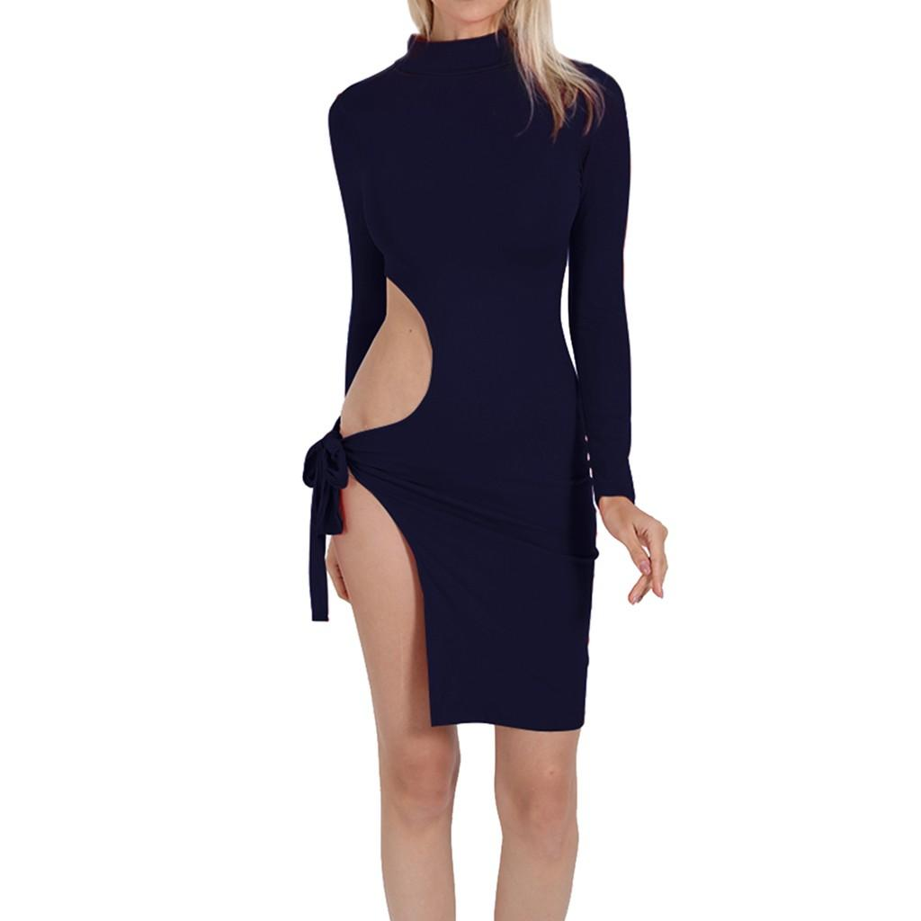 8ebd72d74dd843 Dress Women S Sexy High Collar Solid Color Long Sleeve Off Shoulder Tight  Dresses Feitong Fashion Empire Sheath Mini Dress White Women Dresses Party  Dress ...