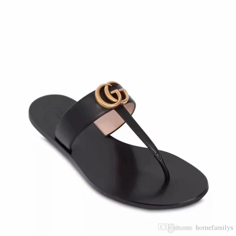 bc2ca2310263b Cheap 2018 New Luxury Brand Ms Men s Causal G Slides High Quality Genuine  Leather Summer Outdoor Beach Sandals Slippers Size 38-45